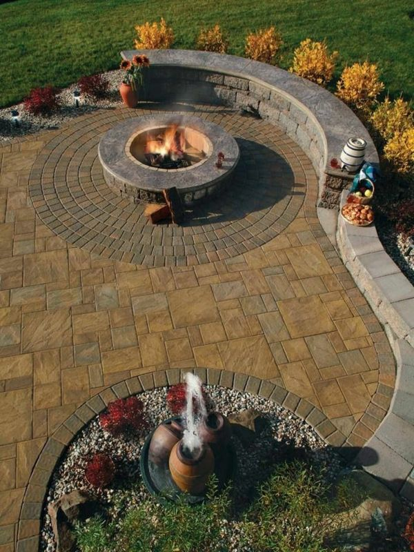 Gartengestaltung Ideen Bilder Steinpflaster Außen Kamin Dekoration