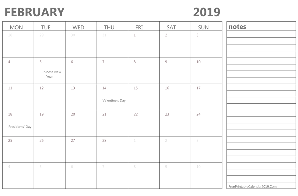 February Calendar 2019 With Notes February 2019 Printable Calendar With Notes #February