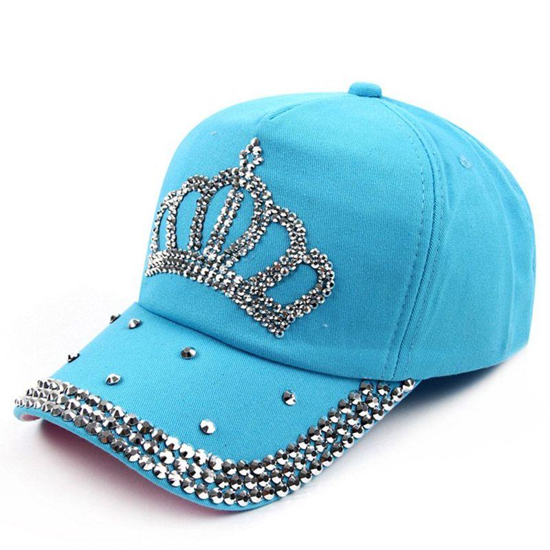 7bfad4fd81e04 VONRU Brand New Crown Rhinestone Baseball Caps Fashion Jean Hat Hip Hop  Women Denim Baseball Cap