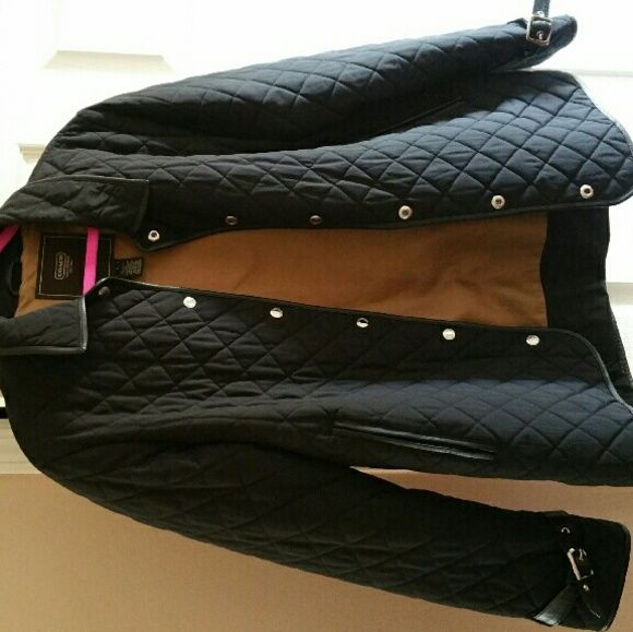 Coach Quilted Jacket Leather Buckle Details