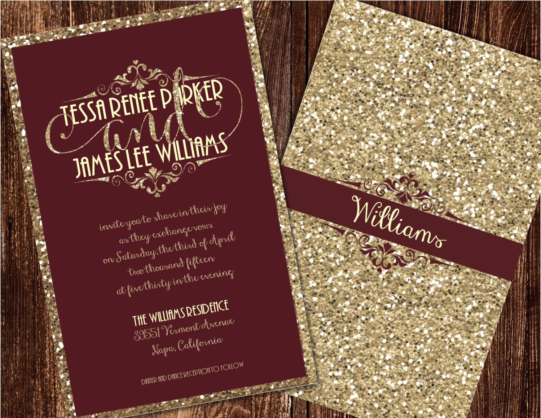 Burgundy And Gold Wedding Invitations: Champagne And Burgundy Wedding Invitations, Maroon Wedding