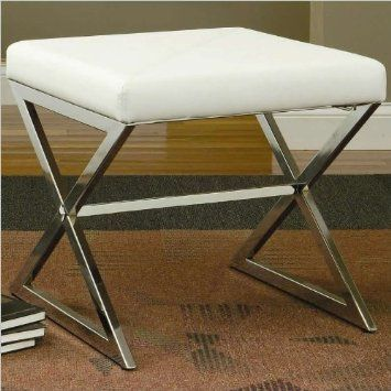 Amazon.com: Coaster Ottoman with Metal Base in White Faux Leather: Furniture & Decor $90.88