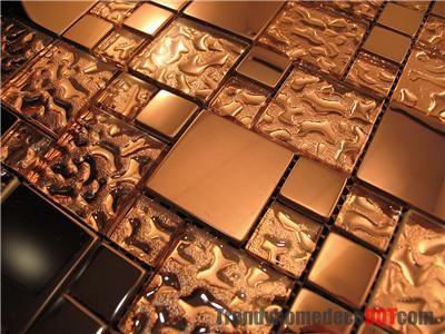 Sample Copper Metal Pattern Textured Gl Mosaic Tile For Kitchen Backsplash