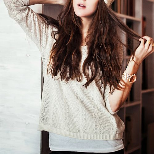 White Long Sleeve Hollow Pullover Sweater