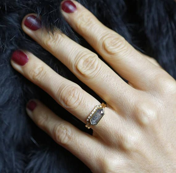 Modern geometric diamond ring set One of a kind Available in