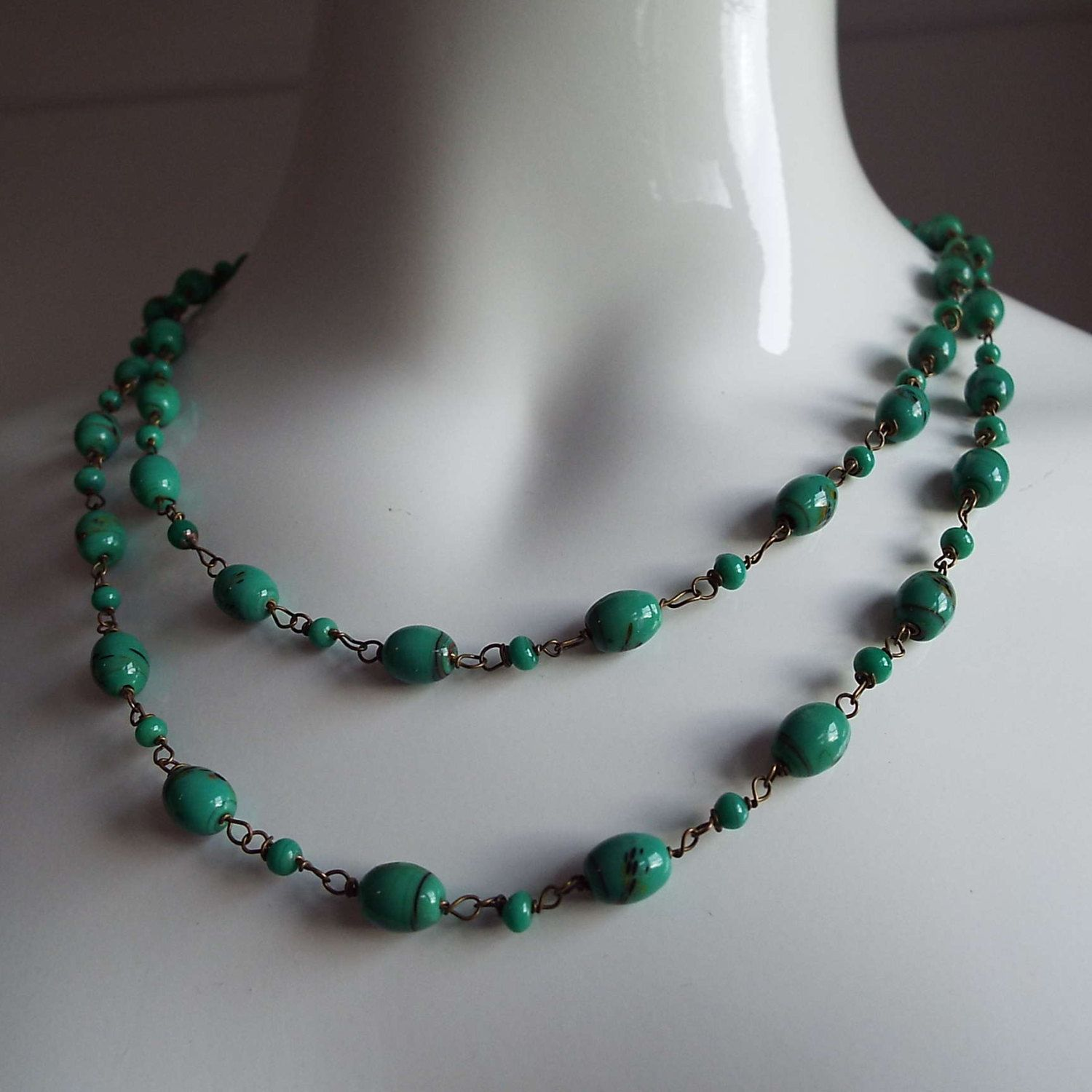 Vintage Art Deco Glass Beaded Necklace Flapper Necklace 1930's by VintageBlackCatz on Etsy