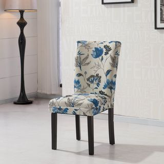 HLW Arbonni Blue Floral Fabric Modern Parson Chairs (Set Of 2) | Overstock™