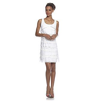 S.L. Fashions White Cotton Tiered Tank Dress with Lace - this would ...
