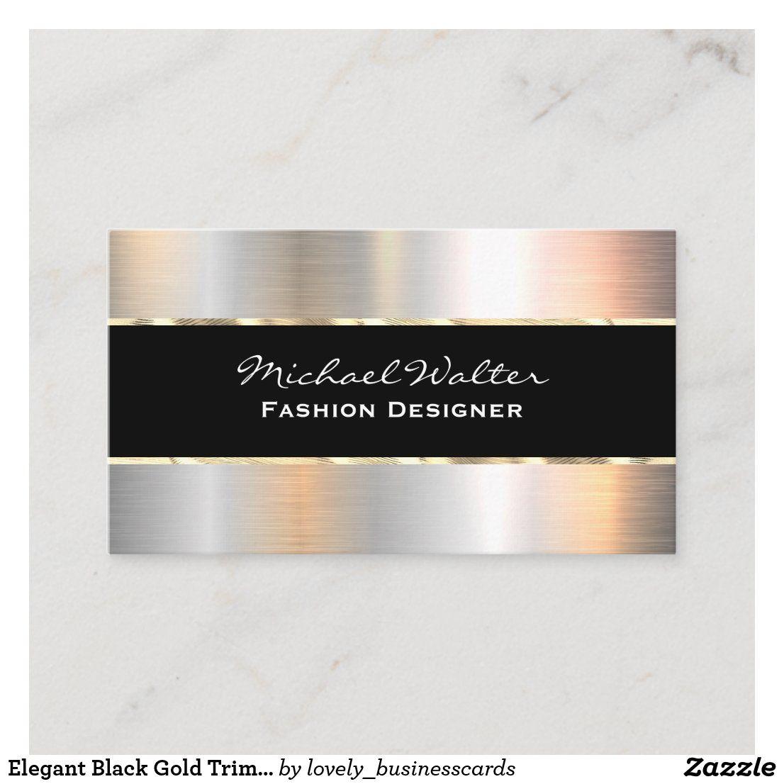 Elegant Black Gold Trim Silver Metallic Business Card Zazzle Com Metallic Silver Black Gold Gold Trim