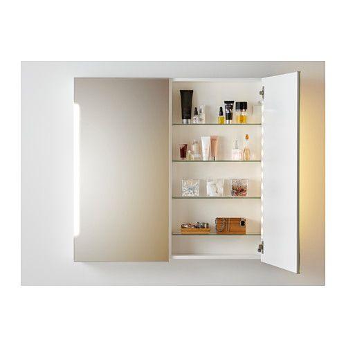 STORJORM Spiegelschrank m 2 Türen+int Bel, weiß Haus ideen - badezimmer spiegelschrank ikea