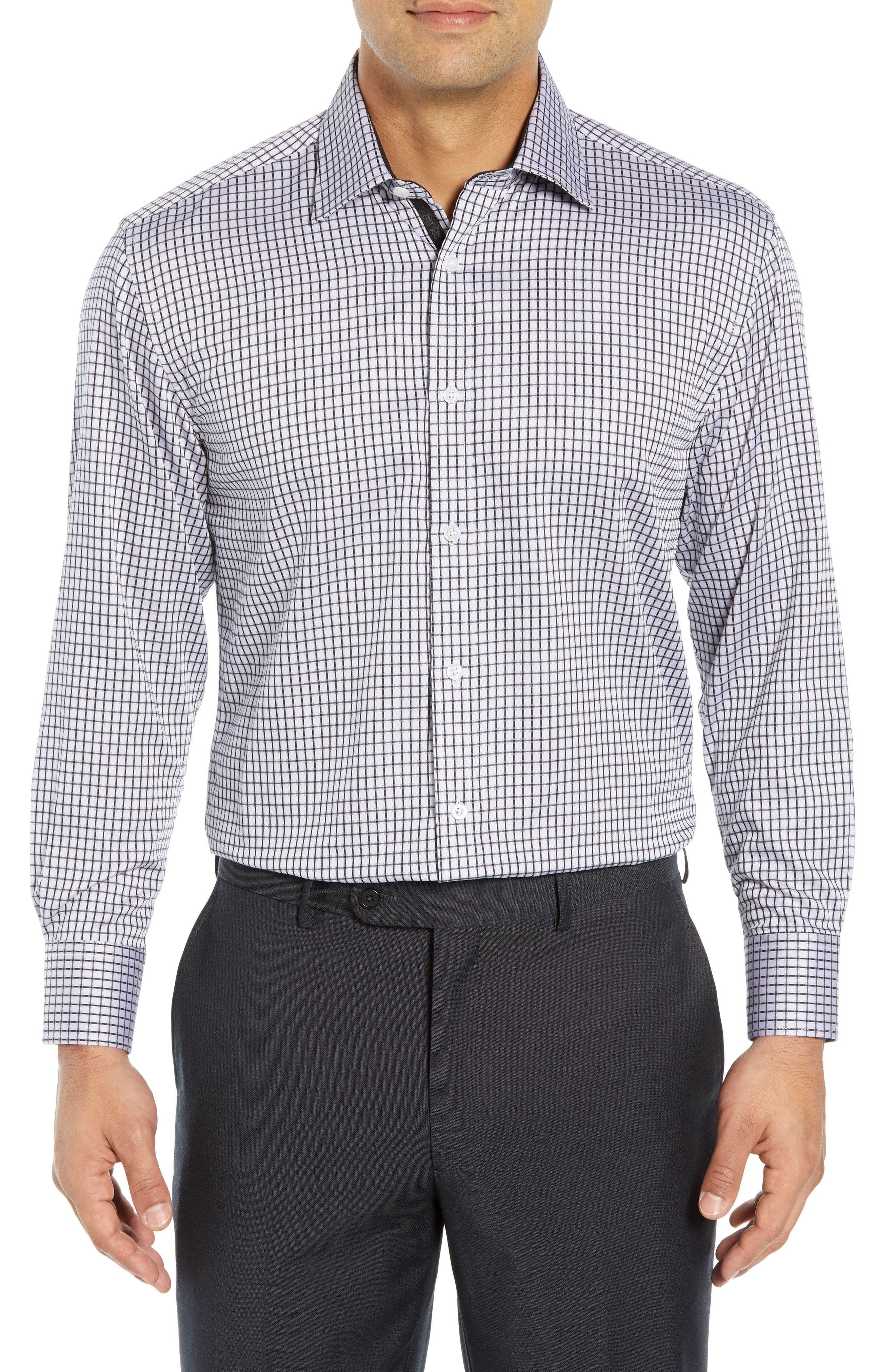 Regular Fit Check Dress Shirt In Grey