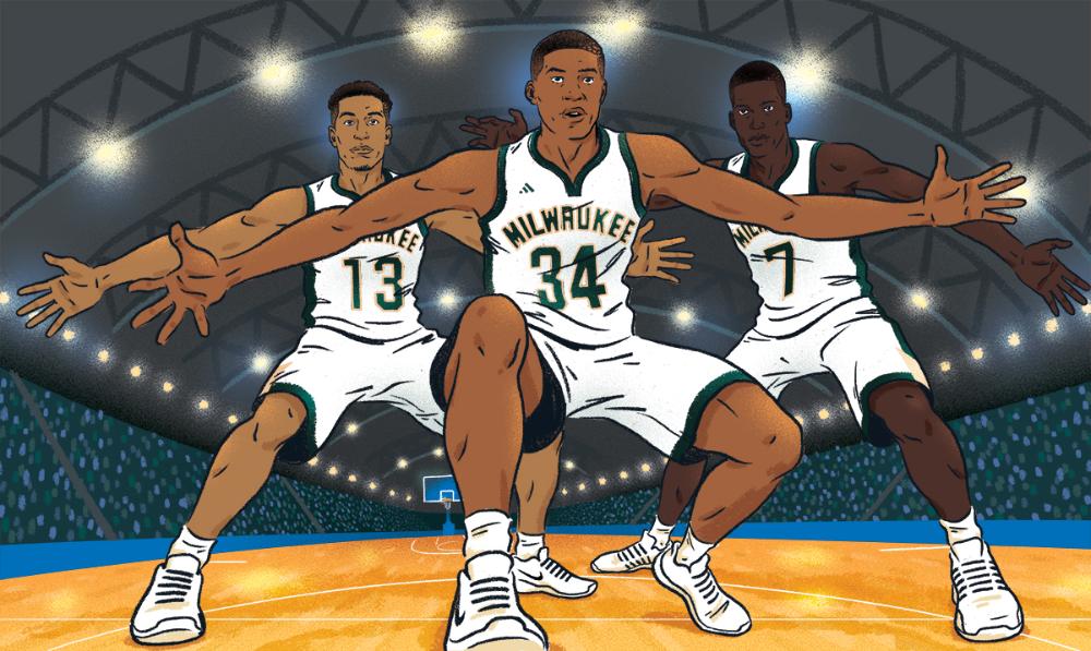 Espn Magazine Playing The Long Game Nba Basketball Illustration Featuring Giannis Antetokounmpo Malcom Brogdon Thon Espn Magazine Malcom Milwaukee Bucks