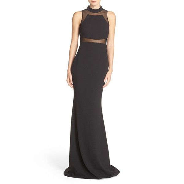 Women\'s Vera Wang Illusion Scuba Gown (970 BRL) ❤ liked on Polyvore ...