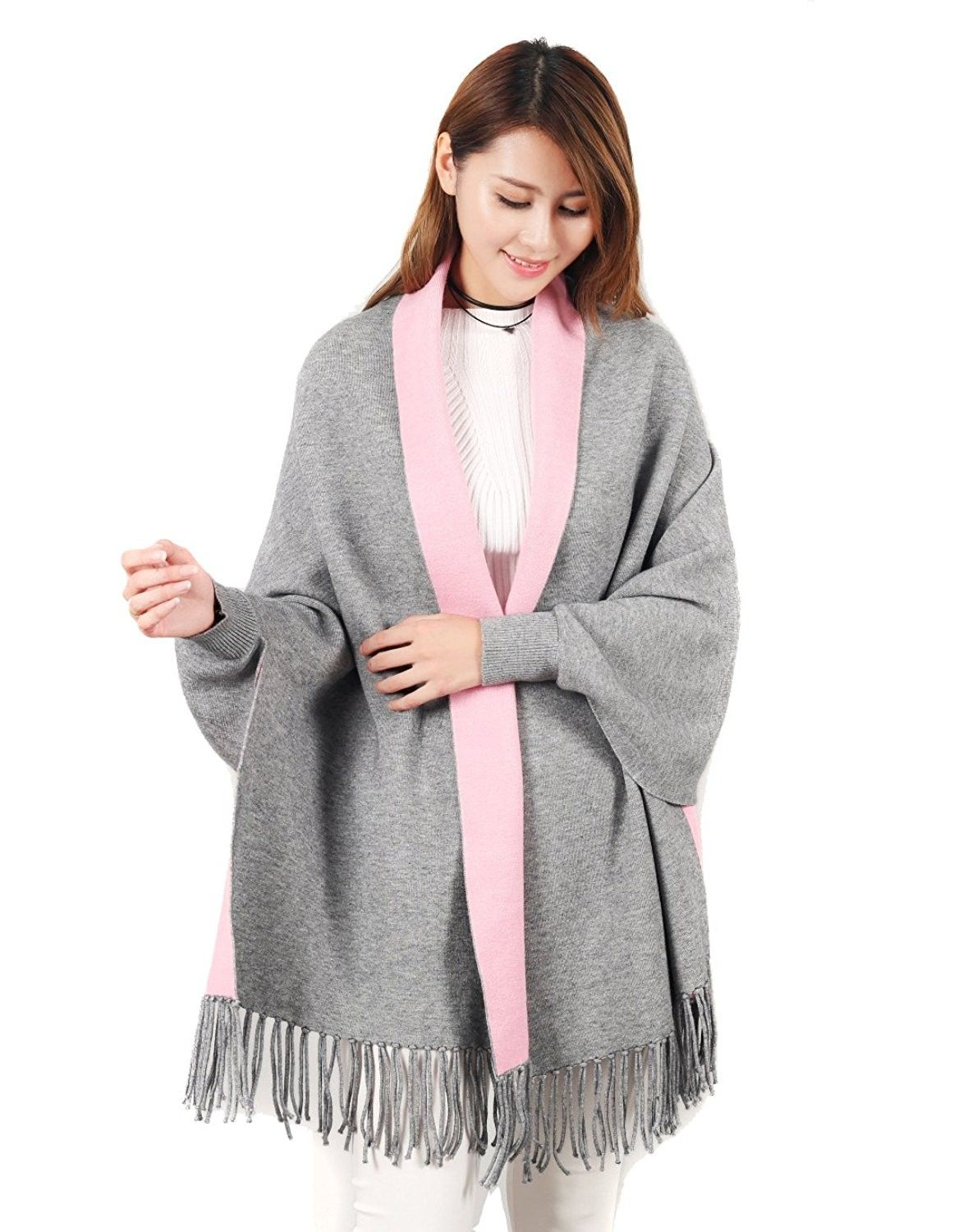 b1aa9b40ceded Women's Stylish Warm Blanket Wrap Shawl with Sleeves Scarf Neck Stole  Pashmina Reversible Poncho Coat Grey/Pink - CN187ZRDAH6 - Scarves & Wraps,  ...