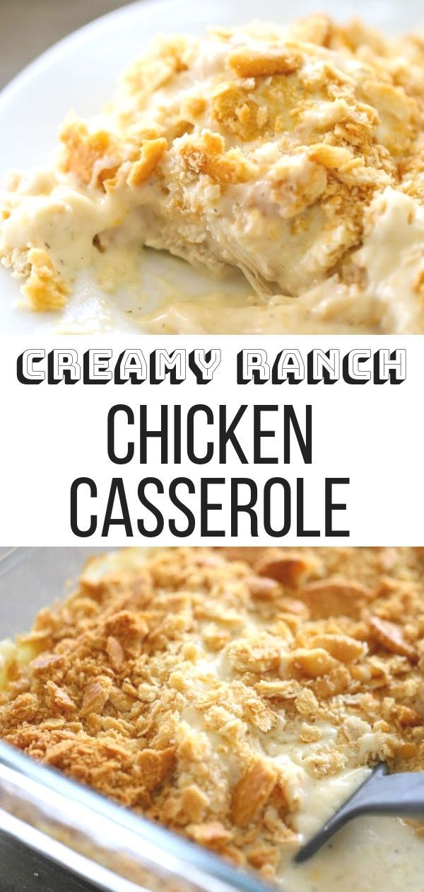 This Creamy Ranch Chicken Casserole recipe is SO simple to make and perfect for feeding a big crowd Pop it in the oven and enjoy a tasty baked casserole dinner tonight Ki...