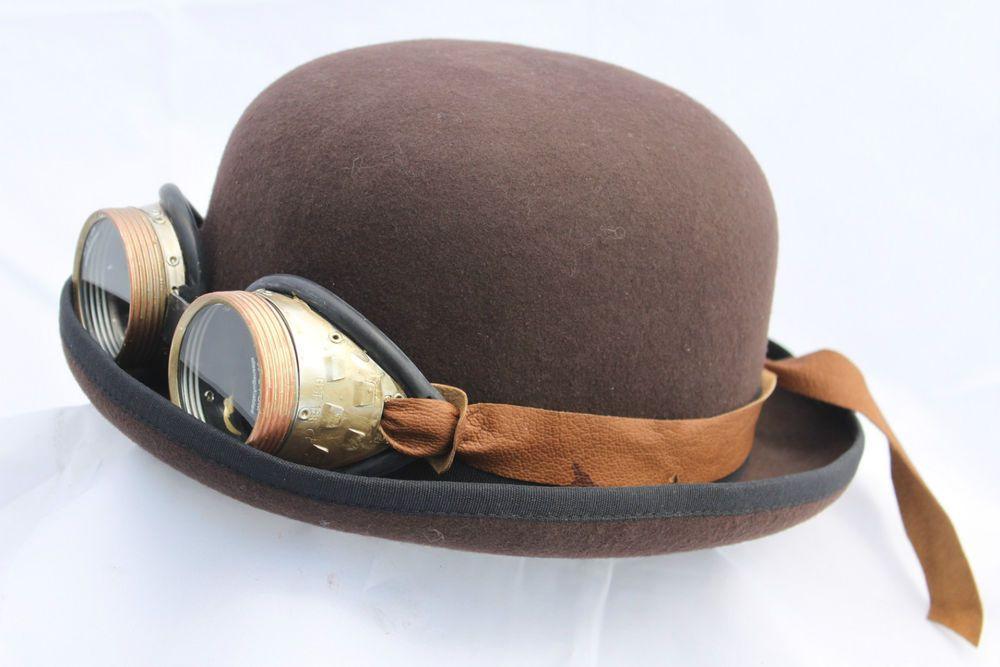 Wollfilz Melone Bowler Hut Steampunk Pan Tau Charlie Chaplin Vintage