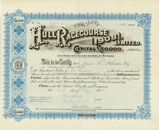 Hull Racecourse (1908), Limited 27.05.1908, 100 Shares á £ 1, #14, 28,7 x 35 cm, blau, schwarz, Knickfalten, ca. 2 cm langer Randeinriss, Eselsohr.