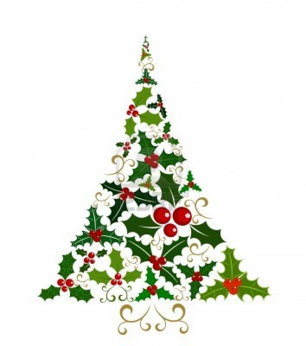 Abstract Christmas tree isolated made of various holly berry leaves and fruits