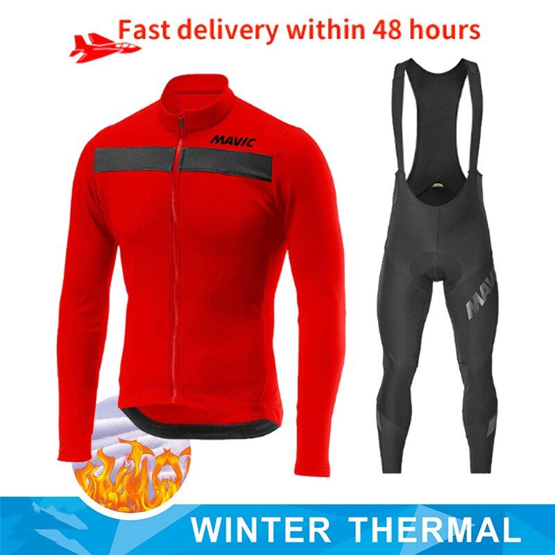 Mens Cycling Winter Thermal Fleece jersey bib pants sets Road Bicycle Suit E4