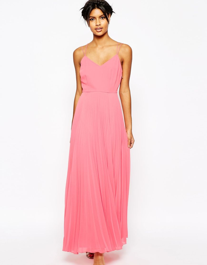 Image 1 of ASOS Woven Cami Maxi Dress With Pleated Skirt | Debs ...