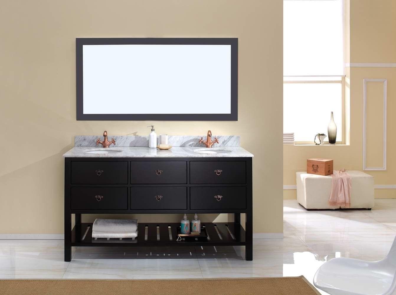 Salerno Black Ebony Bathroom Vanity Traditional Free Standing Double Vanity Cabinet Vanity Vanity Cabinet Wall