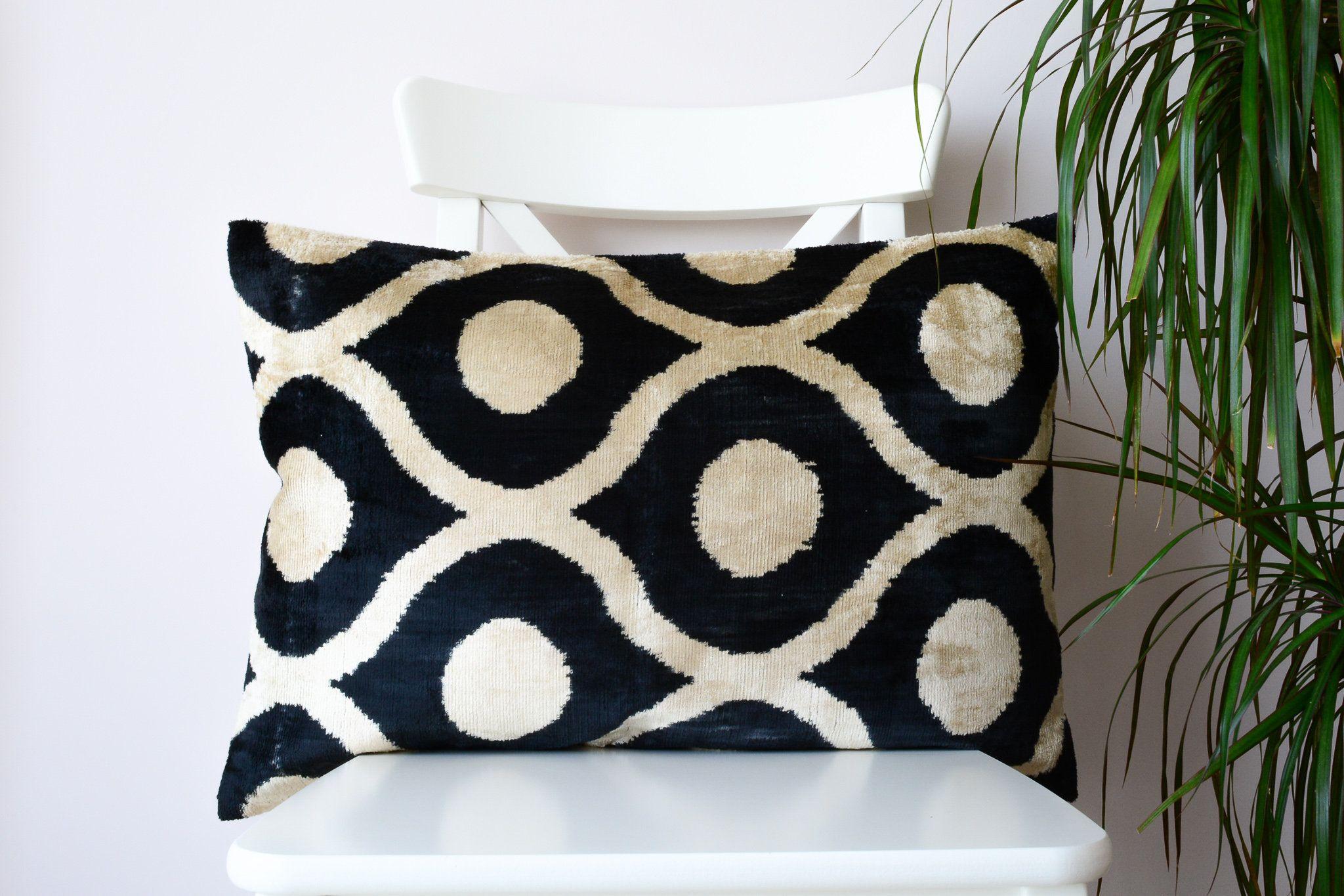 Black beige throw pillow black ikat pillow cover ikat lumbar