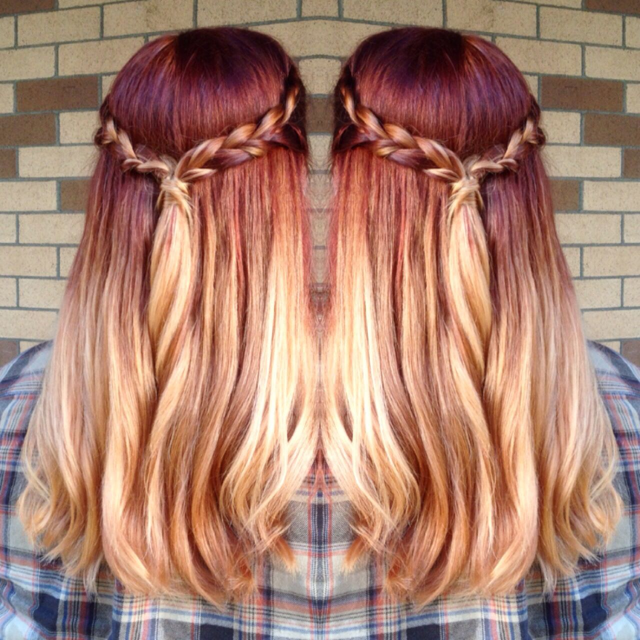 Rich Deep Red Roots With Blonde Ombre By Emily Field Ombre Hair Blonde Baylage Hair Red Ombre Hair