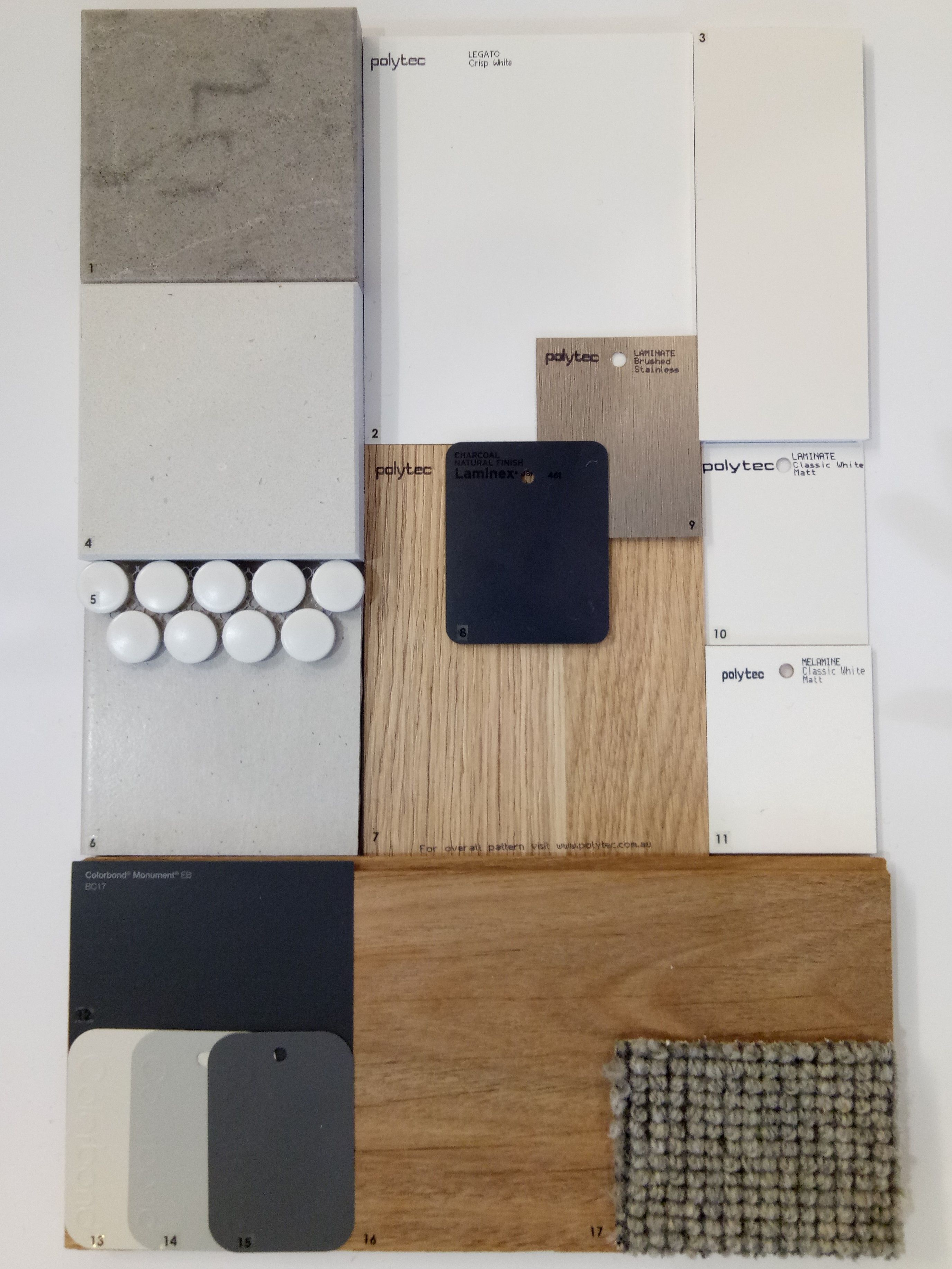 Colour Finishes Board for Pivot Home's design and build in