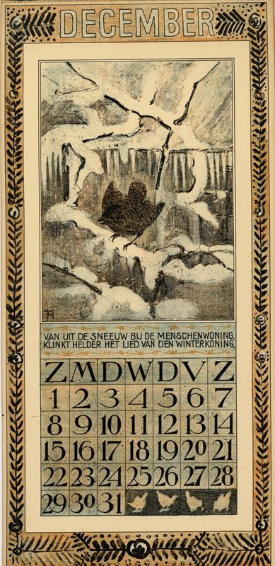 Bird Calendar: December 1907, by Theodoor van Hoytema (1863–1917). Published by Tresling and Co