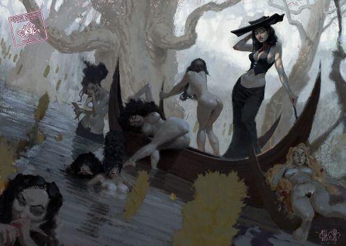 Fishing Vampiresses By Craig Elliott 2003 Halloween