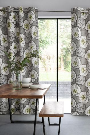 Graphic Poppy Print Eyelet Curtains | DWD Market Research ...