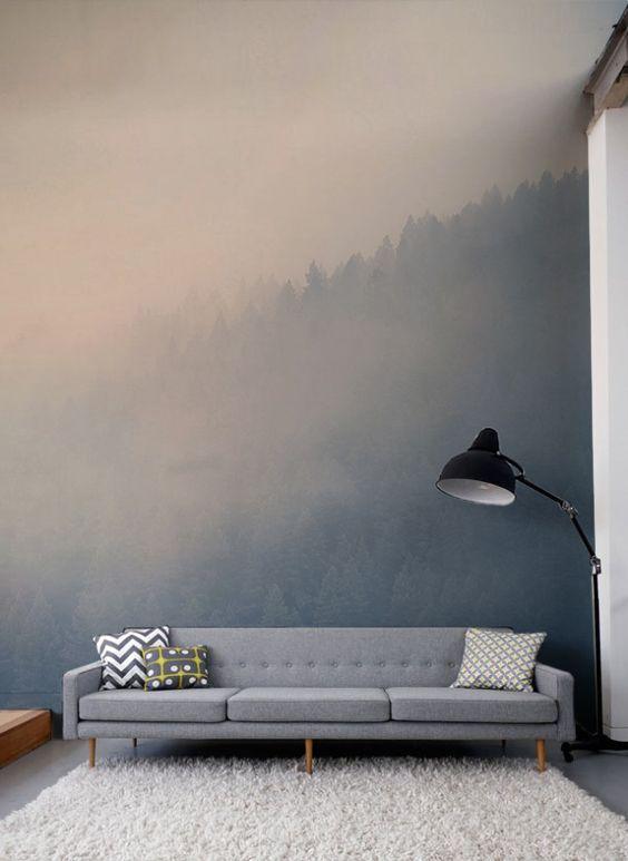 Jetez votre regard à travers les cimes des arbres grâce à cette magnifique murale de forêt flou la couleur douce des pastels en font un papier peint