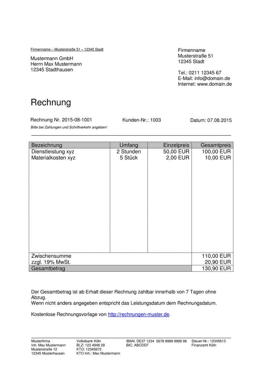 Das Beispiel Von Rechnungsvorlagen Kostenlos Rechnungsvorlage Fur Jeden Zweck Restaurant Rechnung Vorlage