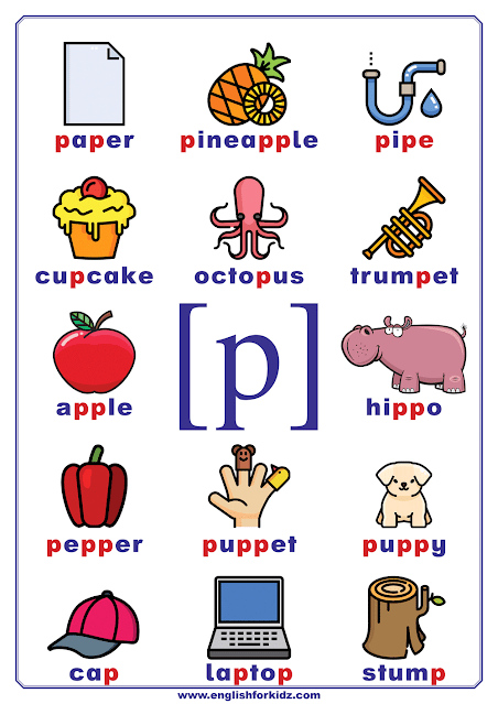 English Phonetics Chart Consonant Sound P Represented By Letter P English Phonics Phonics Chart Preschool Phonics