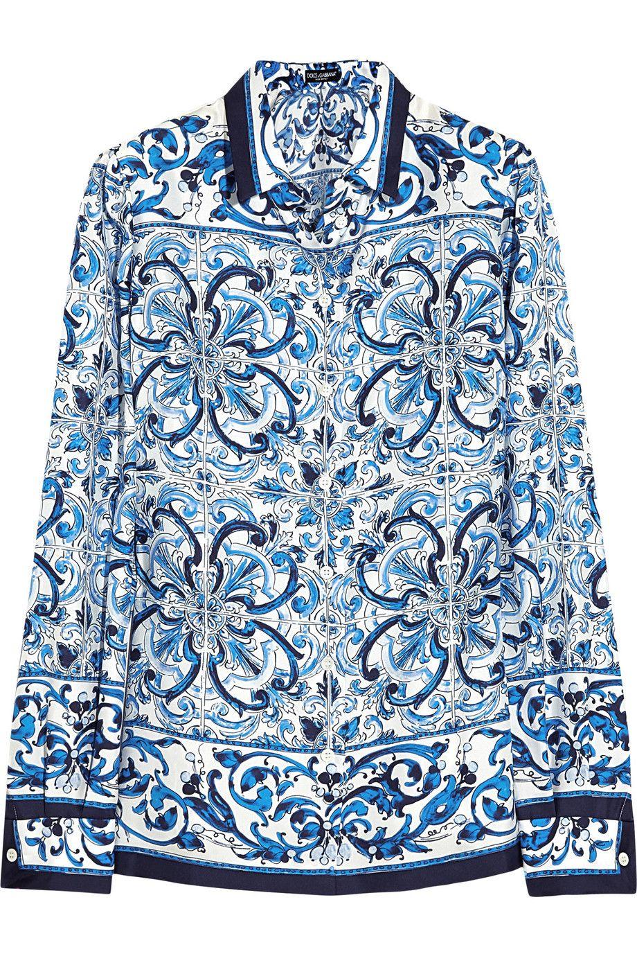 4e066d782f7 DOLCE & GABBANA Printed Silk-Twill Shirt. #dolcegabbana #cloth #shirt