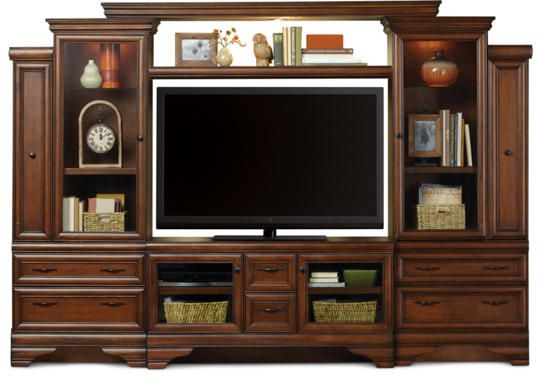 Sienna Wall With 52 Console Chestnut Art Van Furniture