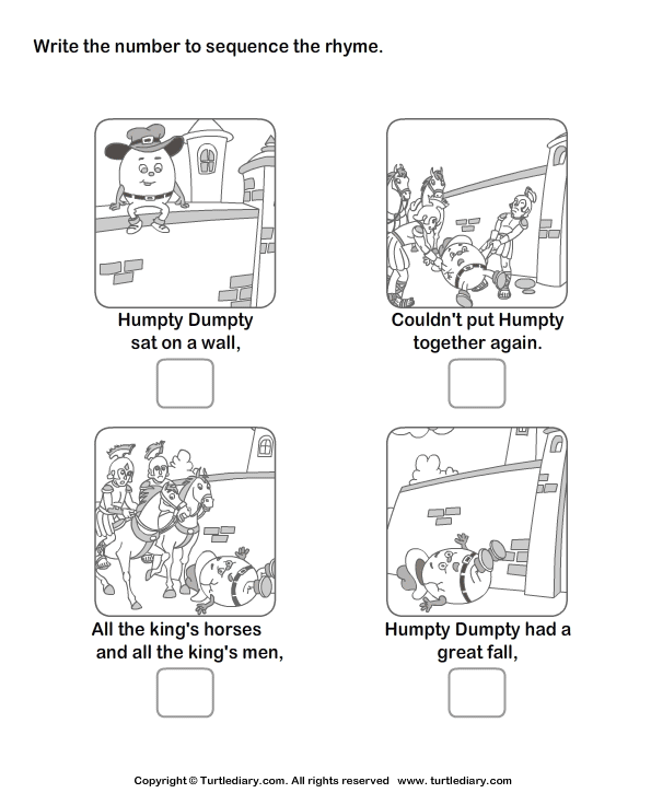 Download and print Turtle Diary's Story Sequencing Humpty
