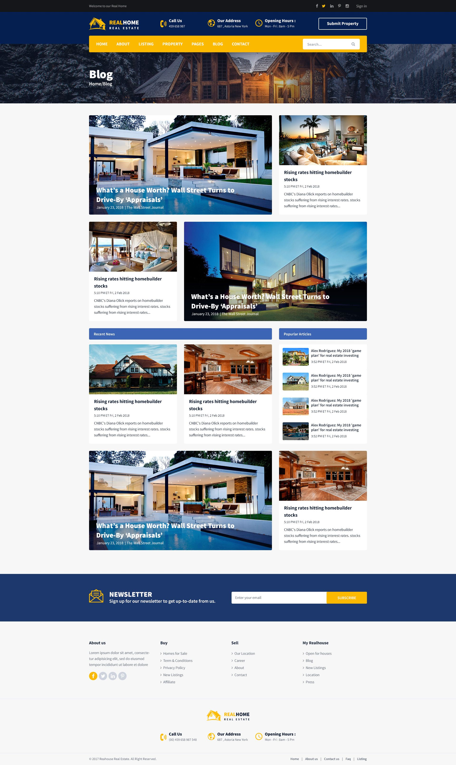 Realhome Real Estate Business Psd Template Estate Real