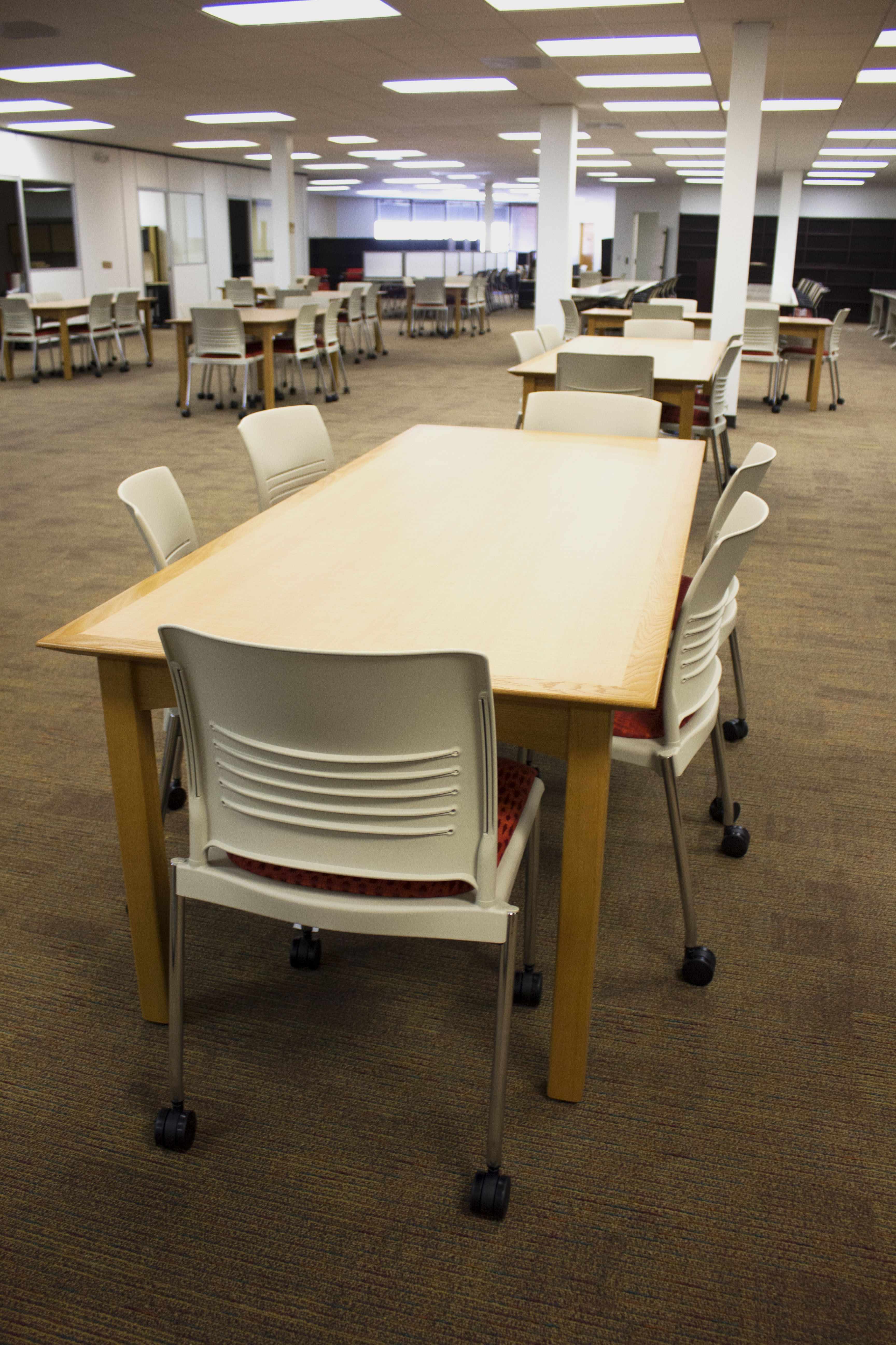 crossroads tables and strive upholstered seat chairs look great at