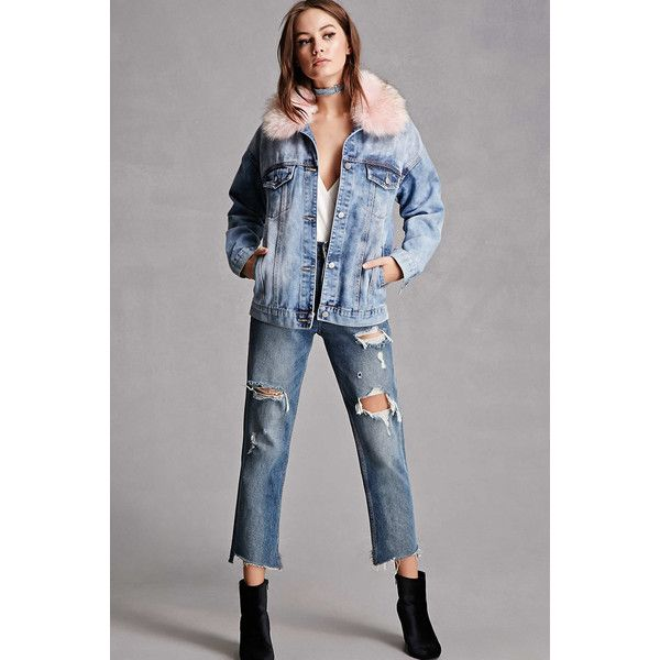 Forever21 Faux Fur Collar Denim Jacket 78 Liked On Polyvore