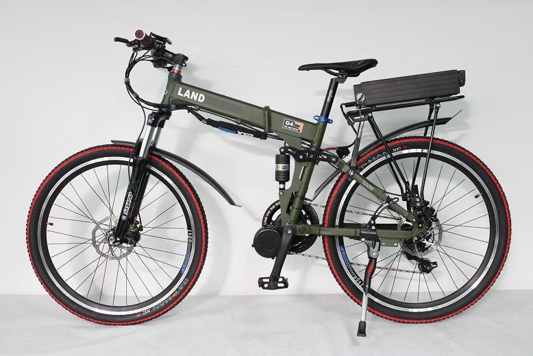 Military Green Off Road Landr Electric Bike 48v 750w 8fun Bafang Mid Drive Foldable Frame 9 Speed 48v 20ah R Electric Bicycle Best Electric Bikes Electric Bike