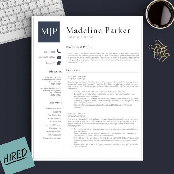 Professional Resume Template for Word \ Pages 1, 2 and 3 Page - resume tem