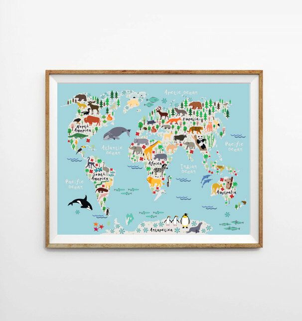 Animal World Map X In X In X In Kids World - World map for playroom