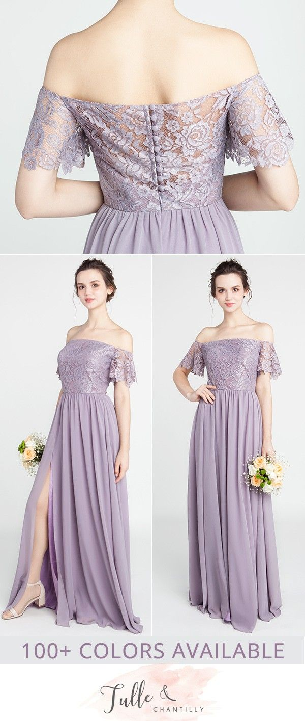 Gorgeous Lace Off The Shoulder Bridesmaid Gown With Chiffon Skirt Tbqp402 Off Shoulder Gown Bridesmaid Off Shoulder Bridesmaid Dress Purple Bridesmaid Dresses