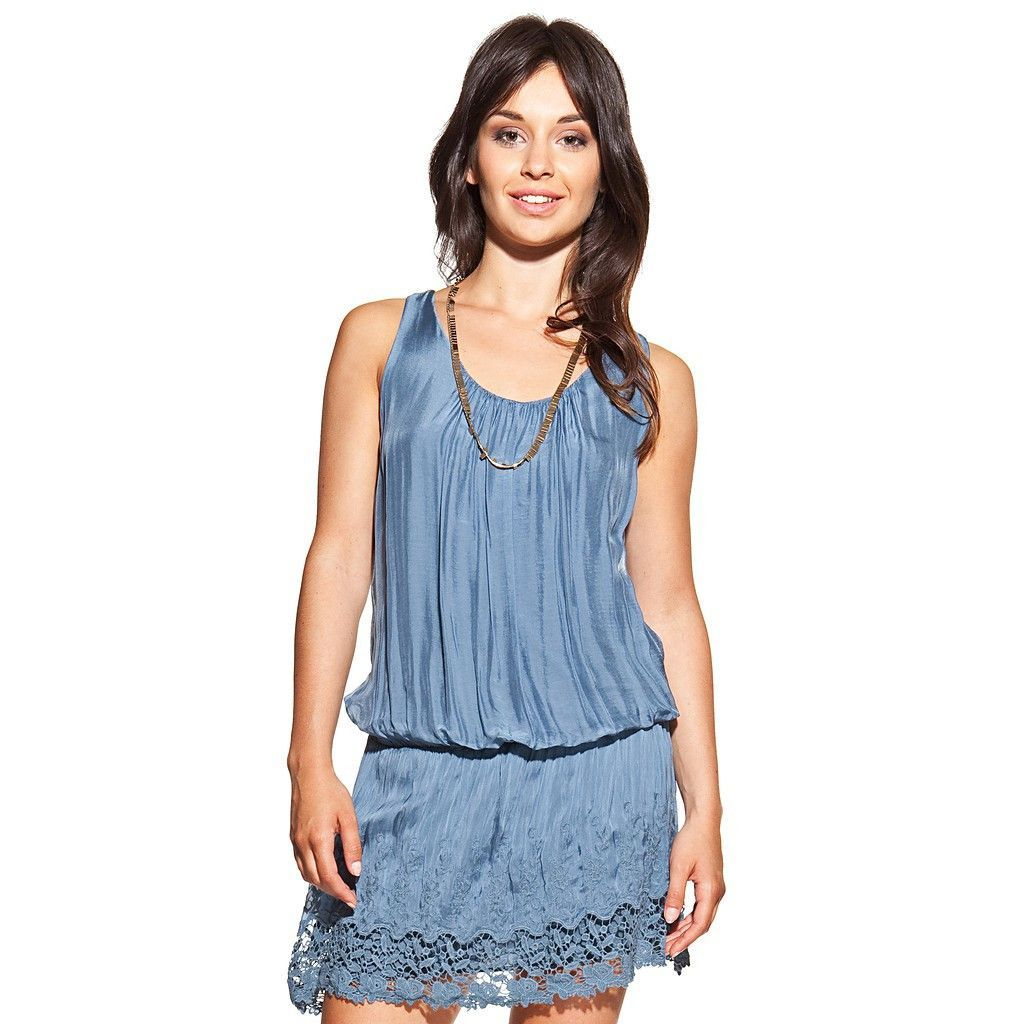 Silk dress colour blue U-neck, embroidered and lace trim