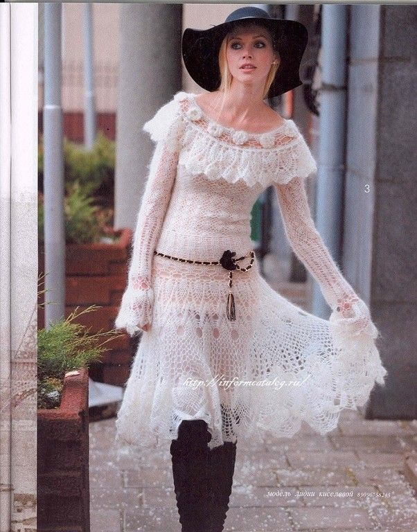 Knitted Dress Crocheted mohair   The thread