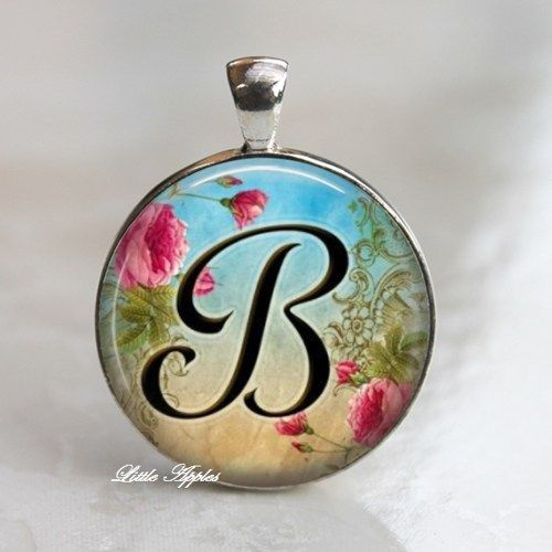Letter B personalized capital alphabet round glass necklace keychain ... 5cd0ab9d84