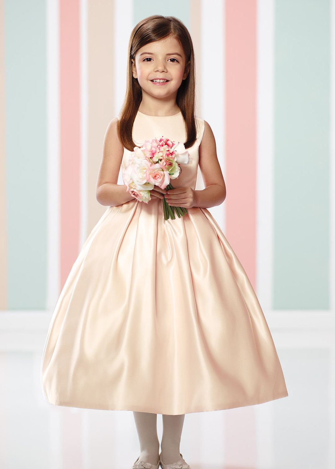 Ivory lace champagne satin tea length wedding flower girl dress