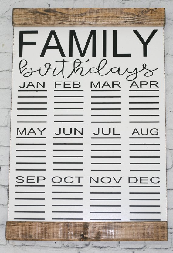 Birthday Calendar Family Birthday Calendar Hanging Birthday