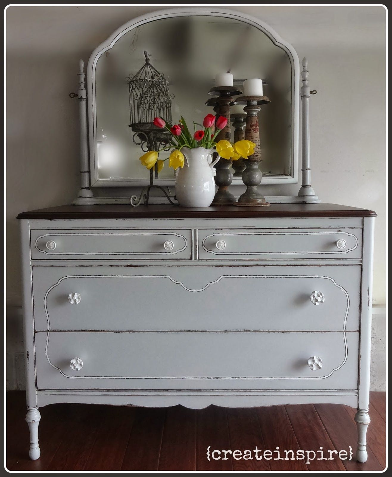 White Antique Dresser so sweet and simple, grey and crystal knobs. {createinspire}: gray